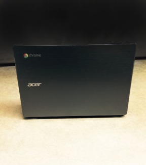 this is a picture of the back of a student's Acer chromebook