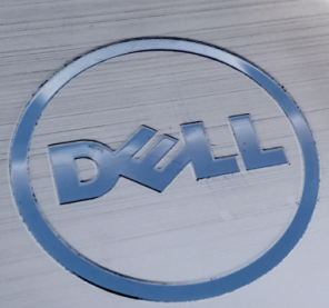a slate blue, metallic dell logo on a charcoal background