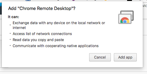 example of the add chrome remote desktop app pop up