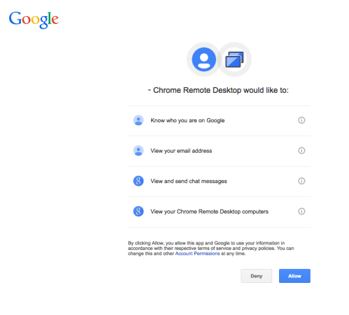 example of permissions pop up
