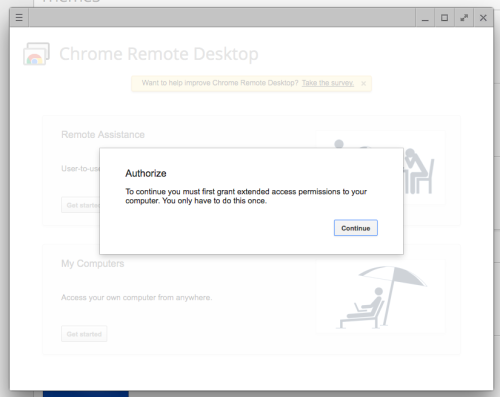 example of the authorize computer pop up