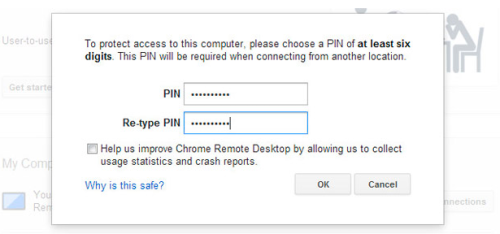 example of Pin prompt pop up