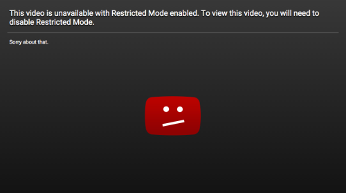 an example of the restricted mode screen that comes up when one tries to view a restricted youtube video in safe mode.